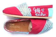 The Gretchen  Red and Light Blue Custom TOMS by FruitfulFeet, $120.00 only in my wedding colors...fav song and verse!