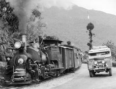 Series 1 Land Rover on the 1955 Oxford Cambridge Far East Overland Expedition. Also in the frame, Darjeeling Railways!