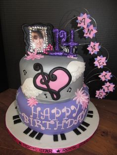 I was asked to make a Justin Bieber birthday cake for a girl turning 14, who also loves music and plays piano.  I took elements from the party decor (Eiffel Tower, Statue of Liberty, stars & piano keys...not to mention Justin) and tried to incorporate it into the design.  Was also inspired by several musical cakes here on CC & one Justin Bieber cake by eXtremecakes! Thanks for the inspiration! :)