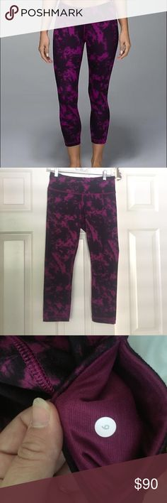 Lululemon wunder under crop. RARE. Size 6! RARE wunder under crop. This print was very popular and sold quick! This is the space dye, it's a dark pinkish purple and black. These have been only worn a 2 or 3 times. Great condition! lululemon athletica Pants