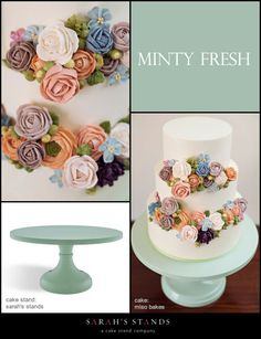An enchanted cake, inspired by a childhood book, was created by @Twilla Bakken King Bakes for the new Minty Fresh wedding cake stand. A nostalgic color palette of rich buttercream flowers brings this secret garden to life. #cakestands, #wedding, #cake, #mint, #misobakes, #sarahsstands