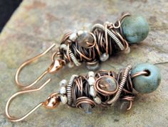 Tangled+earrings+Copper+Silver+Magnesite+by+ThePurpleLilyDesigns,+$29.50 So steam punk! Love these!