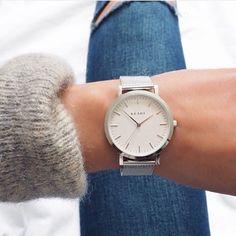 KLARF | White & Silver mesh bracelet watch #klarf #klarfwatches #watches #watch #accessories #stainlesssteel #silverwatch