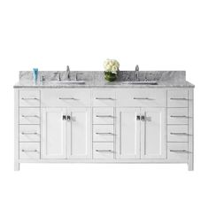 Virtu USA Caroline Parkway 72 in. W x 22 in. D Double Vanity in White with Marble Vanity Top in White with White Basin
