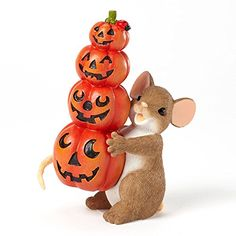 "Enesco Charming Tails Figurine, 3.5-Inch, ""Stacked Pumpkins"" Enesco"