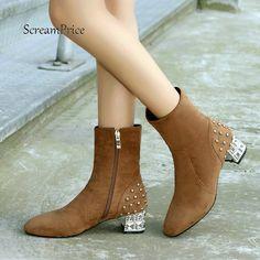 0916c0d95 Cheap Mujeres Faux Suede cómodo Tacón cuadrado tobillo cremallera lateral  botas de moda remache invierno marrón