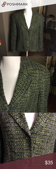Coldwater Creek Green Blue Plaid Tweed Blazer 10 Excellent condition! Jacket Coldwater Creek Jackets & Coats Blazers