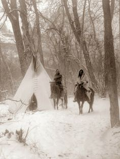 This is a picture of a Crow Indian camp in Winter. It was taken in Montana in 1908.