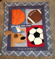 Puppy Baby Quilt - Dog Baby Blanket- Sports Theme Blanket-Minky Flannel Blanket - Boy Blanket-Patchwork Flannel Back Boy Blanket 35 x 46
