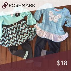 Two 2T Little Lass Outfits Just adorable!! Each of these outfits has only been worn twice and they are in excellent condition!! Outfit on the right has a cute bow detail in the back, too! Perfect for all the holidays and into the Spring!! Little Lass Matching Sets