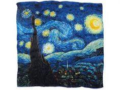 "100% Charmeuse Silk Van Gogh's ""Starry Night"" Square Scarf Shawl"