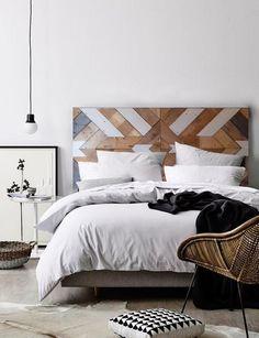 UNAL'HOME tete de lit en bois MODERNE ET NATUREL