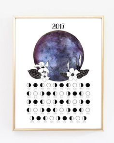 Lunar Calendar 2017, Moon Phases, Moon Poster, Printable Calendar, Art of the Moon, 2017 Calendar, 2017, Moon decoration, Moon print