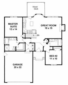 Plan # 1091 - Ranch | First floor plan (added note: I LOVE this! Looks very age/ability friendly with everything one needs on a daily basis one main floor.)