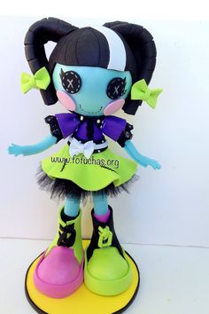 """Scraps Stitched """"N"""" Sewn is the new addition to my  Fofucha Dolls. She is made using foam sheets and tulle. She stands at 10 inches tall. Would make a great gift to any Lalaloopsy lover. She would also be great decor for halloween. One of a kind doll 100% handmade. To purchase visit fofuchas.org or facebook.com/fofuchashandmadedolls #foamdolls #lalaloopsy #halloween #fofuchas"""