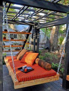Suspended lounge under arbor...