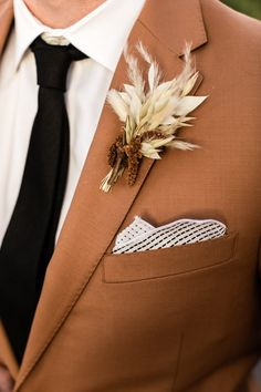 Some styles are bold enough to stand on their own, but many suits are just begging for exciting groom accessories to give the look some life. Wedding Suits, Wedding Groom, Wedding Men, Wedding Attire, Boho Wedding, Floral Wedding, Wedding Colors, Dream Wedding, Brown Suit Wedding