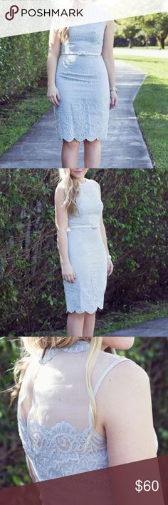 """Maggy London Pale Grey Lace Sheath Dress Pale blue/gray intricate lace with sheer yoke. Scallop lace at hem. Has belt at waist and button closure at back. Fully lined, perfect for holiday, wedding guest attire or baby/bridal shower! Measures 38.75"""" from top of shoulder to bottom of hem (I'm 5'2"""" as seen in styled photos) Maggy London Dresses"""