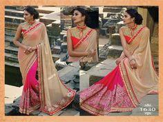 beige embroidered lycra saree With Blouse - Gokul Vastra - 1463388 Indian Designer Sarees, India And Pakistan, Bollywood Saree, Party Wear Sarees, Red Blouses, Red Fabric, Traditional Outfits, Silk Sarees, Sari