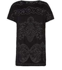Black Baroque Mesh Burnout T-Shirt @New Look