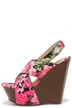 Larkspur of the Moment Black Floral Print Wedge Sandals