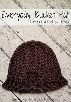 Everyday Bucket Hat Crochet Pattern - The Everyday Crochet Bucket Hat Pattern is a cute and comfortable hat. Plus, it's easy to make! #crochethat #crochetbeanie #freecrochetpattern