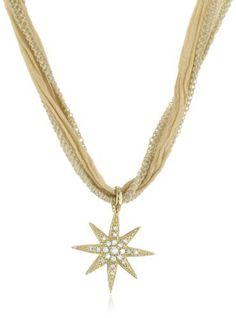 Mizuki 14k Gold And Diamond Starburst Charm On Beige Silk Necklace