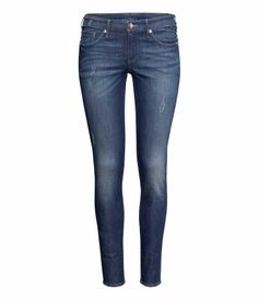 Skinny Low Jeans $29.95 Description   5-pocket, low-rise jeans in stretch denim with ultra-slim, ankle-length legs (dark denim blue and pale denim blue without zips at hems).