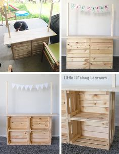 DIY Market Stand for Dramatic Play - Little Lifelong Learners Ikea kids play hack DIY Market Stand for Kids Play ideas for toddlers, preschool, kindergarten Ikea Kids, Hack Ikea, Market Stands, Play Hacks, Diy Hanging Shelves, Toy Rooms, Imaginative Play, Diy For Kids, Play Store For Kids