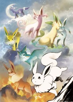 Evolution of Eevee! If Pokemons are real i want an eevee as a pet and evolve into this! next to my ninetails