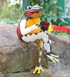 Recycled Metal Coffee Frog Garden Art