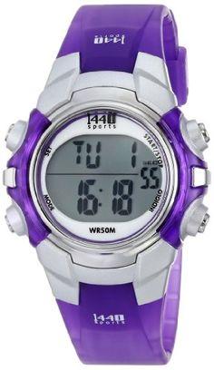 Timex Women's T5K459 1440 Sports Digital Silver/Translucent Purple Resin Strap Watch Timex
