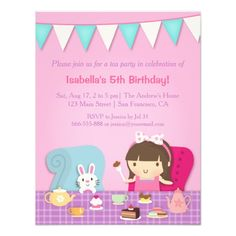 58 best birthday invites for girls images on pinterest invites invite your party guests in style with these cute kids tea party birthday invitations the design features a cute girl with a big polka dots bow sitting filmwisefo