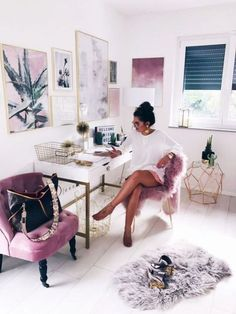 fashionhippieloves-office-space-gold-pink-interior - Home Office Furniture