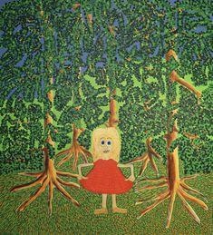 Girl in red dress/Maarit Korhonen, acrylic, canvas, 110cm x 100cm Dark Paintings, Original Paintings, Online Painting, Artwork Online, Dancer In The Dark, Dress Painting, Autumn Painting, Original Art For Sale, Canvas Art