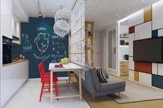 Come arredare un bilocale di 46 mq: il progetto di un piccolo appartamento per 3