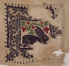 Coptic. Textile of Purple Hare in Foliage, 4th-5th century C.E. Textile; wool, 8 1/4 x 8 1/4 in. (21 x 21 cm). Brooklyn Museum, Gift of Pratt Institute, 42.438.2. Creative Commons-BY