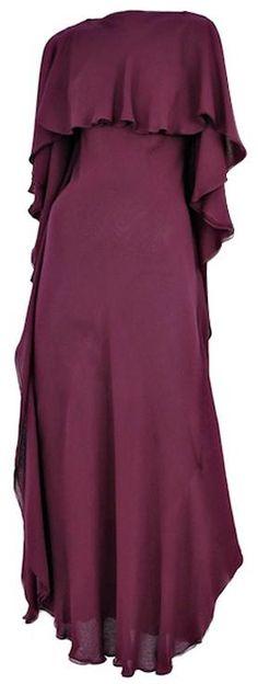 Plum double layered chiffon gown, Halston, 1970s; 1stdibs.com