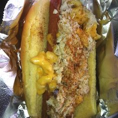 """Crab Mac hotdog from """"Stuggy's"""" in Baltimore, MD....hotdog with mac n' cheese, crab meat, and old bay. YUM!"""