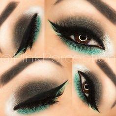 Smokey eye with a pop of green.