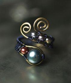 bisuteria con alambre anillo con abalorios - Javies.com