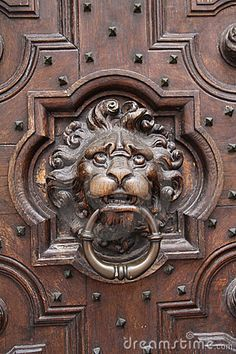 Found this in Brugge, Belgium. This lions head door knocker is carved into the intricately designed antique wooden door.