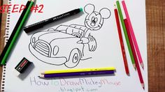 How to draw mickey mouse and his car?Mickey Mouse is very cute and famous Disney character. H ow painting a Mickey Mouse . Mickey Mouse Drawings, Car Drawings, Step By Step Drawing, Disney Characters, Fictional Characters, Snoopy, Board, Cute, Painting