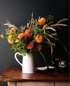 Fall Flower Arrangement - flowers in a Vintage White Jug.