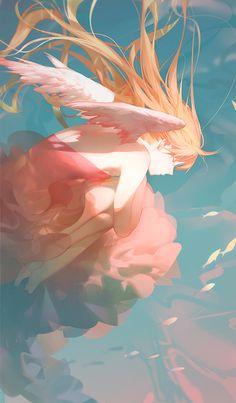 Ideas For Wall Paper Anime Girs Illustration Art And Illustration, Anime Art Girl, Manga Art, Anime Angel Girl, Anime Girls, Fantasy Kunst, Fantasy Art, Desu Desu, Image Manga