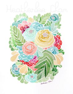 Lady Poppins: Volland Watercolor Tropical Flowers