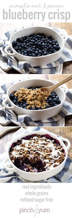 Simple Oat and Blueberry Crisp - warm, juicy blueberries covered with a yummy oa. Simple Oat and Blueberry Crisp - warm, juicy blueberries covered with a yummy oat crumble and topped with a coconut drizzle. Healthy Desserts, Just Desserts, Delicious Desserts, Yummy Food, Healthy Brunch, Healthy Recipes, Easy Recipes, Brunch Recipes, Dessert Recipes