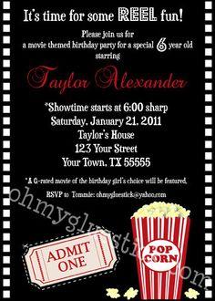 Popcorn Party or Movie Party Invitation #popcorn #movie #ohmygluestick