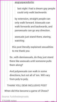Sexualities explained. <<< that last comment tho