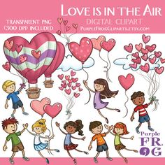 LOVE is in the AIR  Digital Clipart Clip by PurpleFrogCliparts, $4.00